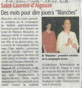 Article Midi Libre présentation Blanches AM 19-01